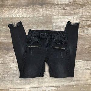 Zara | Black Skinny Distressed Jeans